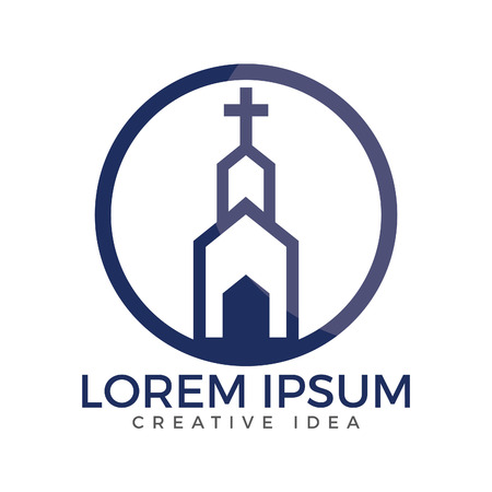 Church building logo design. Template logo for churches and Christian organizations cross