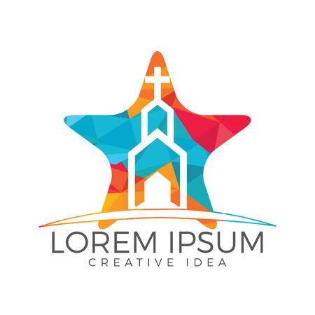 Church building star shape logo design. Template logo for churches and Christian organizations cross Vettoriali