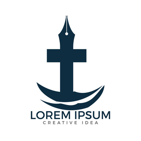 Christian church vector logo design. Crucifixion and pen nib icon. Religious educational symbol. Bible learning and teaching class.
