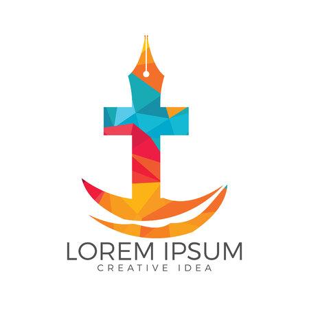 Christian church vector logo design. Crucifixion and pen nib icon. Religious educational symbol. 向量圖像