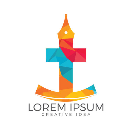 Christian church vector logo design. Crucifixion and pen nib icon. Religious educational symbol. Stock Illustratie