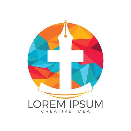 Christian church vector logo design. Crucifixion and pen nib icon. Religious educational symbol. Vettoriali