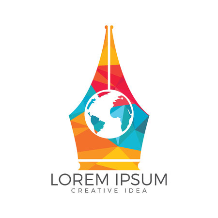 Pen nib and globe logo vector. Education Logo. Institutional and educational vector logo design.  イラスト・ベクター素材