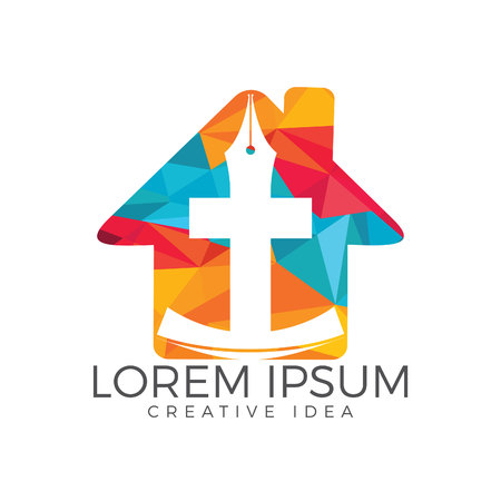 Christian church vector logo design. Crucifixion with home and pen nib icon. Religious educational symbol.