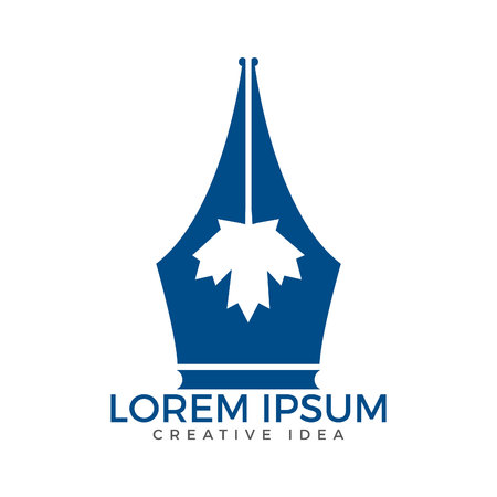 Pen nib and maple leaf logo vector. Education Logo. Institutional and educational vector logo design.  イラスト・ベクター素材