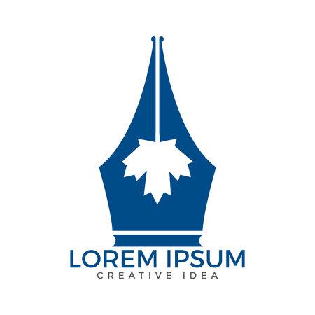 Pen nib and maple leaf logo vector. Education Logo. Institutional and educational vector logo design. Illustration
