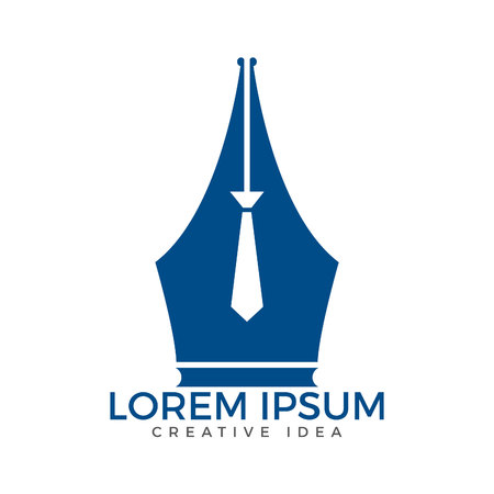 Pen nib and tie logo vector. Education Logo. Institutional and educational vector logo design.