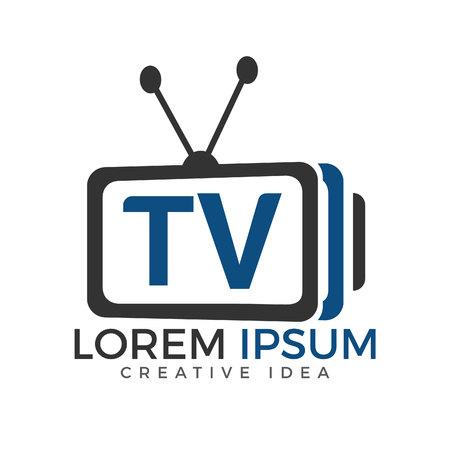 Projektowanie logo litery TV. Szablon koncepcji projektu logo TV mediów ilustracji wektorowych.