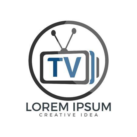 Letter TV logo design. TV media logo design concept template Vector illustration.