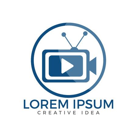 TV media logo design. Video camera sign Vector illustration.