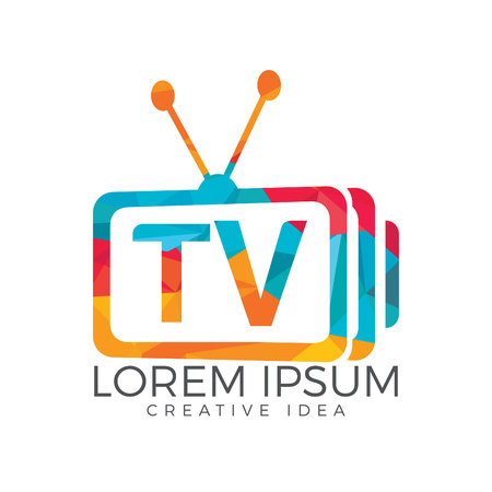Letter TV logo design. TV media logo design concept template.