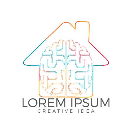 Creative brain heart shape logo design. Think idea concept.Brainstorm power thinking brain Logotype icon .