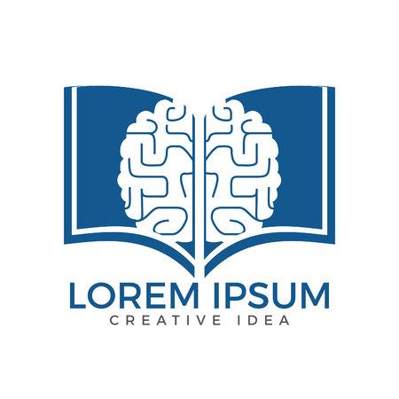 Book brain logo design. Educational and institutional logo design. Illustration