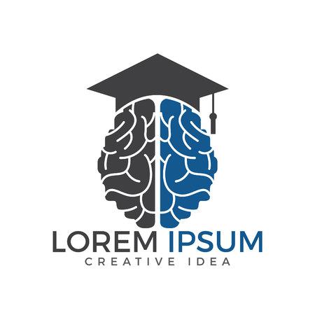 Braind and graduation cap icon design. Educational and institutional logo design. Vectores