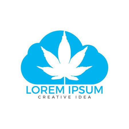 Cloud or smoke with marijuana leaf logo design. Illustration
