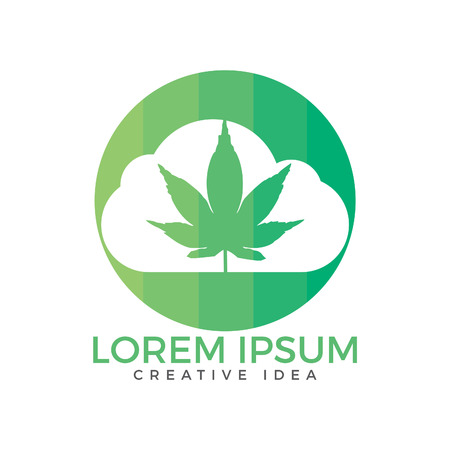 Cloud or smoke with marijuana leaf logo design. Çizim