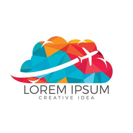 Creative cloud travel logo design. Plane and cloud icon design. Illustration