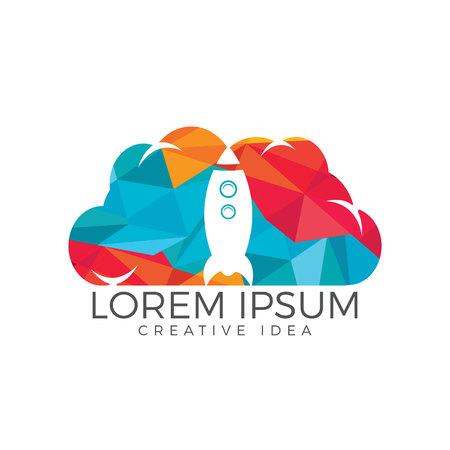 Rocket and cloud logo design. Start up and transport logo.
