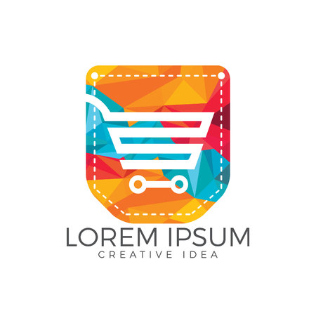 Pocket and shopping cart design. Online shopping app icon template. Illustration