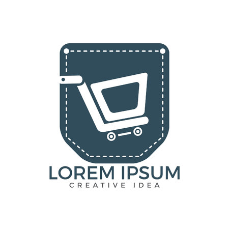 Pocket and shopping cart logo design. Online shopping app icon template. Ilustrace