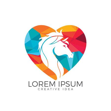 Horse head with heart shape logo design. Horse love template.