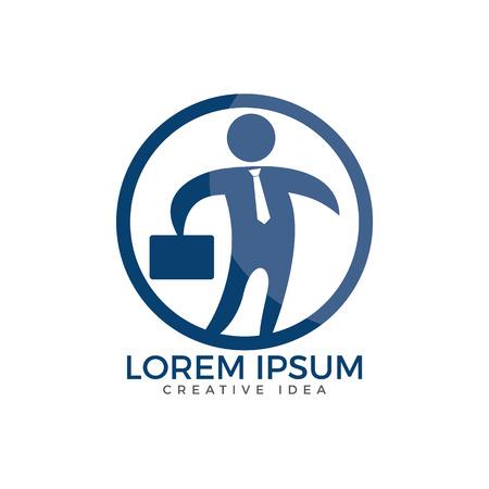 Businessman with bag logo design. People logo icon. Business logo sign. Human character logo sign.