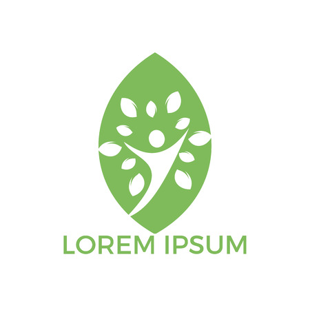 Tree people leaf shape logo. Healthy people logo design.Human life logo icon of abstract people tree vector. Illustration