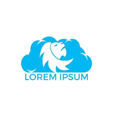 Lion head and cloud logo vector. Wild lion head graphic illustration.