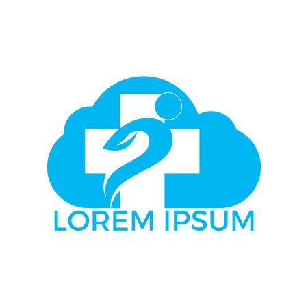 Health Medical Cloud Shape Logo Design. Illustration