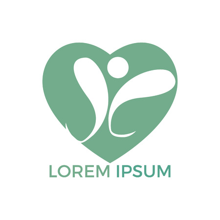 Human Health logo design. Healthcare heart shape vector logo concept illustration. Logo design template for clinic, hospital, medical center, doctor and etc.