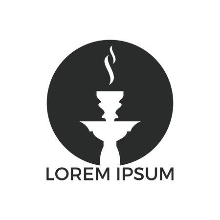 Création de logo de narguilé. Logo de chicha vintage. Emblème de café lounge. Bar arabe ou maison, modèle de conception de vecteur de magasin. Logo