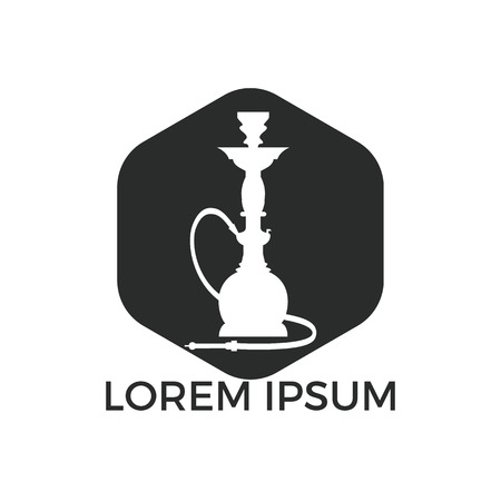 Hookah logo design. Vintage sheesha logo. Lounge cafe emblem. Arabian bar or house, shop vector design template.