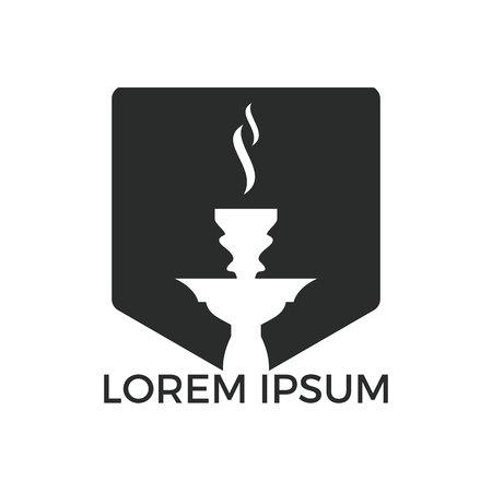 Design del logo del narghilè. Logo in sheesha vintage. Emblema del caffè lounge. Arabian bar o casa, modello di disegno vettoriale negozio.