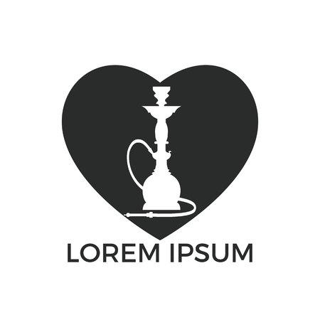 Création de logo de narguilé coeur. Logo de chicha vintage. Emblème de café lounge. Bar arabe ou maison, modèle de conception de vecteur de magasin.
