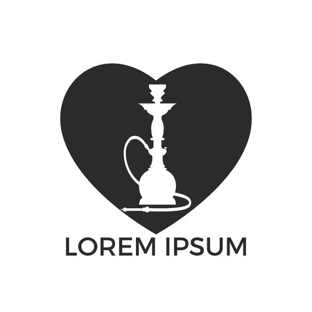 Hookah Heart logo design. Vintage sheesha logo. Lounge cafe emblem. Arabian bar or house, shop vector design template.