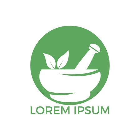Pharmacy medical logo design. Natural mortar and pestle logotype, medicine herbal illustration symbol icon vector design. Logo