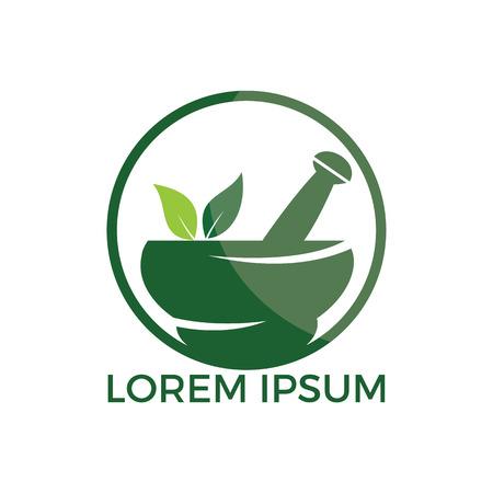 Pharmacy medical logo design. Natural mortar and pestle logotype, medicine herbal illustration symbol icon vector design.