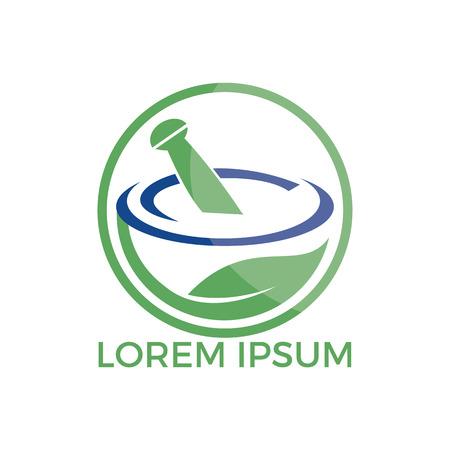 Pharmacy medical logo design. Natural mortar and pestle logotype, medicine herbal illustration symbol icon vector design.  イラスト・ベクター素材