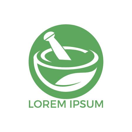 Medizinisches Logo-Design der Apotheke. Natürlicher Mörser und Stößel-Logo, Medizin-Kräuterillustrationssymbolikonenvektorentwurf.