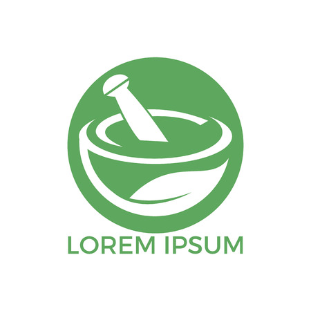Pharmacy medical logo design. Natural mortar and pestle logotype, medicine herbal illustration symbol icon vector design. Иллюстрация