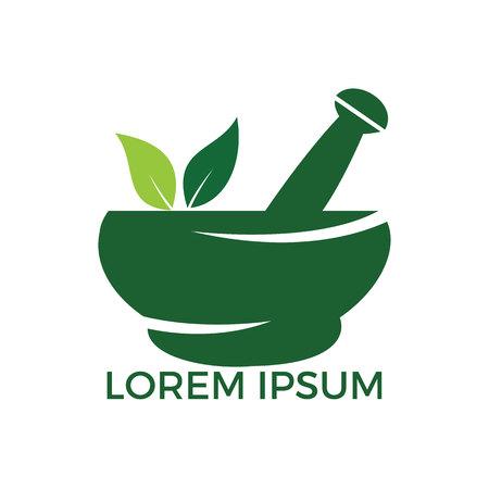 Farmacia medica logo design. Logotipo di mortaio e pestello naturale, disegno di vettore dell'icona di simbolo dell'illustrazione di erbe della medicina. Logo
