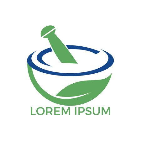 Farmacia medica logo design. Logotipo di mortaio e pestello naturale, disegno di vettore dell'icona di simbolo dell'illustrazione di erbe della medicina.
