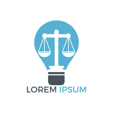 Light bulb and scale of Justice icon design. Education, legal services icon. Notary, justice, lawyer icon or symbol Vector Illustration