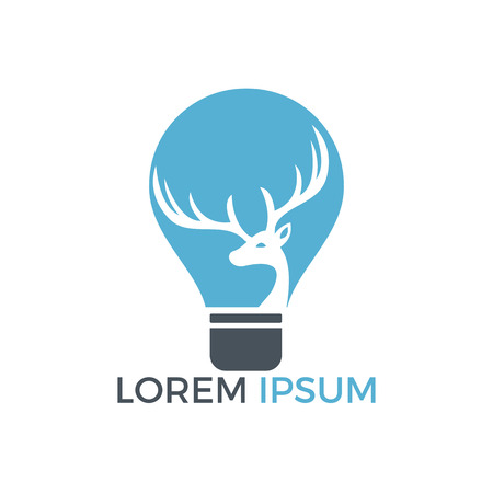 Beautiful deer and an electric light bulb icon design.