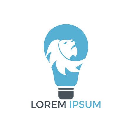 Light bulb and lion icon design. Wild ideas icon concept. Illustration