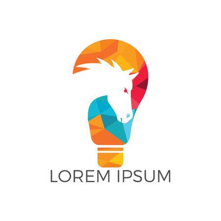 Light bulb and Horse icon design. Wild ideas icon concept. Illustration