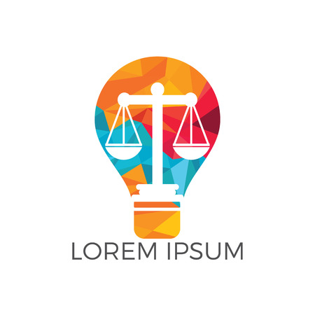 Light bulb and scale of Justice icon design. Education, legal services icon. Notary, justice, lawyer icon or symbol. Illustration