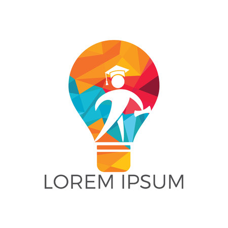 Light Bulb and Student logo design. Education concept template. Idea School Creative And Symbolic Logo Design.