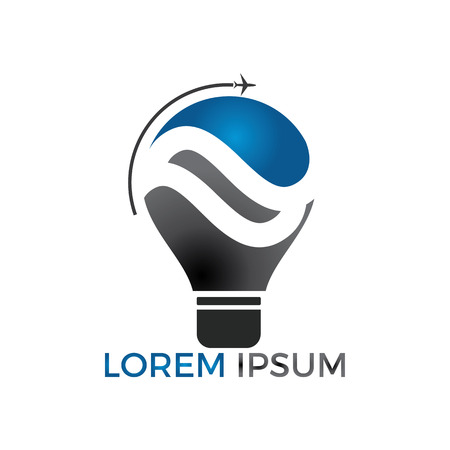 Travel and tourism idea concept design. Lightbulb and airplane symbol or icon. Unique idea and flight logotype design template.