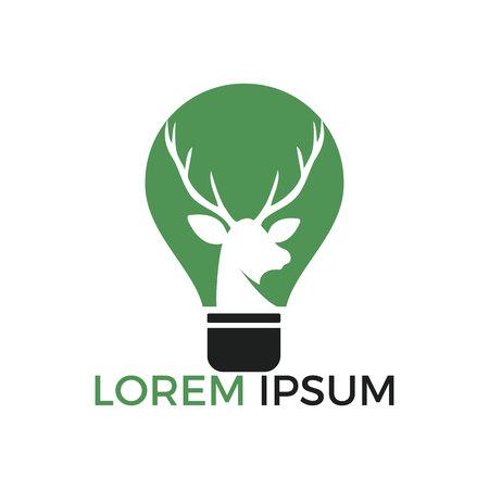 Beautiful deer and an electric light bulb logo design.